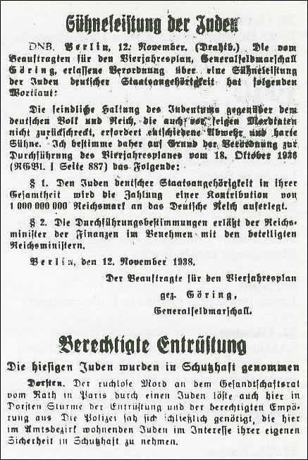 Bericht über das staatsgesteuerte Pogrom; Dorstener Volkszeitung vom 11. November 1938